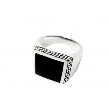 925 Sterling Silver Men's Square Onyx Greek Key Meander Ring - SilverMania925