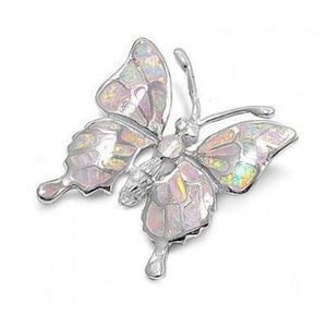 925 Sterling Silver White Mosaic Inlay Fire Opal Butterfly Monark Pendant - SilverMania925