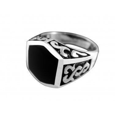 925 Sterling Silver Men's Black Onyx Celtic Irish Oxidized Sides Ring 12g - SilverMania925