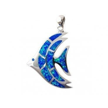 925 Sterling Silver Hawaiian Blue Fire Inlay Opal Fish Big Pendant 8gr - SilverMania925
