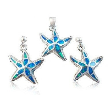 925 Sterling Silver Hawaiian Blue Opal Starfish Pendant Earrings Set - SilverMania925
