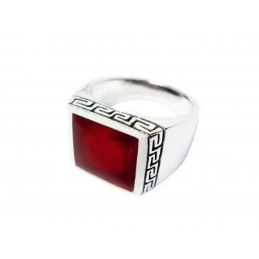 925 Sterling Silver Mens Square Inlay Carnelian Greek Key Meander Ring - SilverMania925