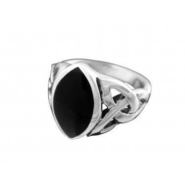 925 Sterling Silver Men's Onyx Celtic Triquetra Trinity Knot Ring - SilverMania925