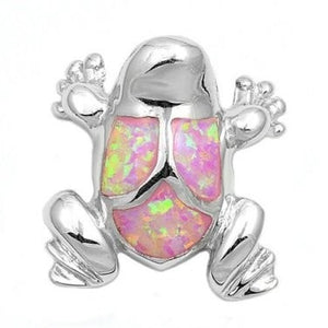 925 Sterling Silver Pink Fire Inlay Opal Lucky Frog Charm Pendant - SilverMania925