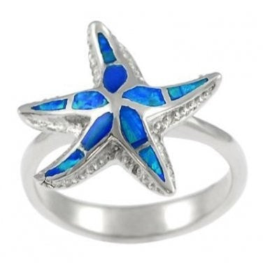 925 Sterling Silver Ring Hawaiian Blue Inlay Opal 3D Sea Starfish - SilverMania925