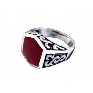 925 Sterling Silver Men's Carnelian Celtic Irish Oxidized Sides Ring - SilverMania925