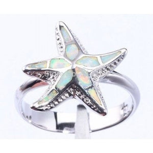 925 Sterling Silver White Fire Inlay Opal 3D Sea Starfish Ring - SilverMania925