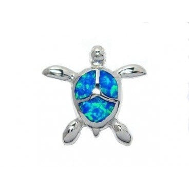 925 Sterling Silver Hawaii Blue Opal Sea Turtle Honu Charm Pendant - SilverMania925