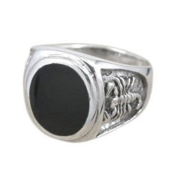925 Sterling Silver Men's Oval Black Onyx Engraved Scorpion Thick Ring - SilverMania925