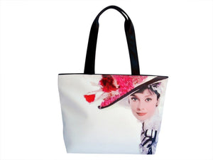 Audrey Hepburn Vintage Hat Retro Wide Tote Shoulder Bag Purse - SilverMania925