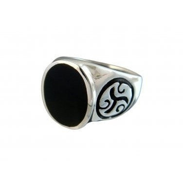 925 Sterling Silver Men's Celtic Symbol Sign Oval Genuine Onyx Thick Ring - SilverMania925
