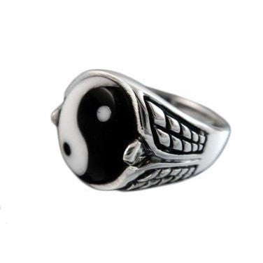 925 Sterling Silver Mens Ying Yin Yang Tai Chi Asia Checkered Sides Ring - SilverMania925