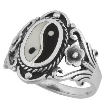 925 Sterling Silver Men's Chinese Ying Yin Yang Ring - SilverMania925