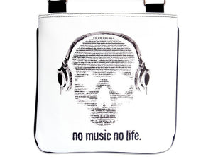 No Music No Life Skull Headphones Cool Messenger Sling Bag Purse