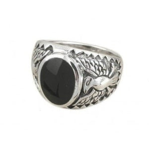 925 Sterling Silver Men's German Eagle Oval Inlay Onyx Ring - SilverMania925
