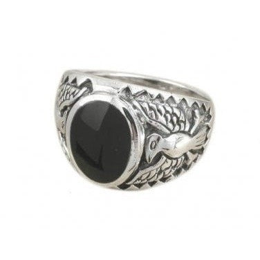 925 Sterling Silver  German Eagle Onyx Ring - SilverMania925