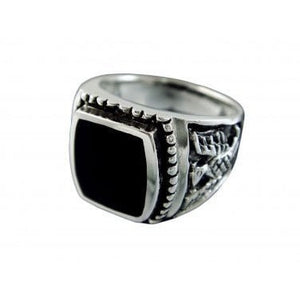925 Sterling Silver Mens German Iron Eagle Black Onyx Thick Ring 13gr - SilverMania925