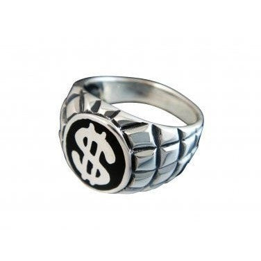 925 Sterling Silver Men's Dollar Sign US Currency Bling Greenback Poker Engraved Ring - SilverMania925