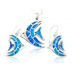925 Sterling Silver Hawaiian Blue Fire Opal Fish Pendant Earrings Set - SilverMania925