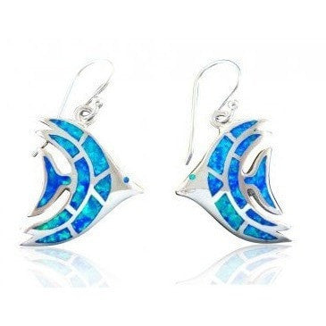 925 Sterling Silver Hawaiian Blue Fire Opal Fish Dangle Earrings Set - SilverMania925