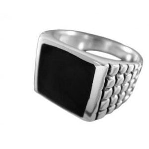925 Sterling Silver Mens Square Black Inlay Onyx Engraved Checkered Ring - SilverMania925