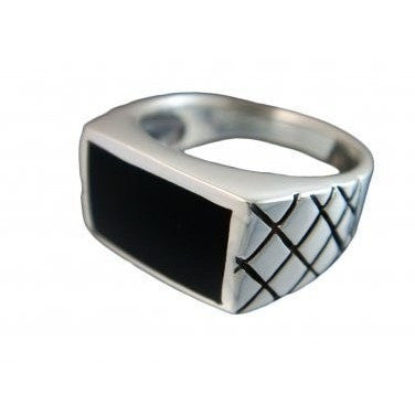925 Sterling Silver Men's Black Onyx Engraved Checkered Wide Ring - SilverMania925