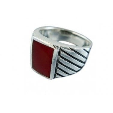 925 Sterling Silver Mens Rectangle Carnelian Engraved Sides Ring 12 gr - SilverMania925
