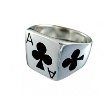 925 Sterling Silver Men's Ace of Clubs Casino Poker Card Game Ring - SilverMania925