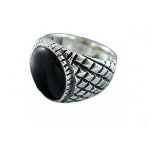 925 Sterling Silver Mens Black Onyx Checkered Sides Ring 12gr - SilverMania925