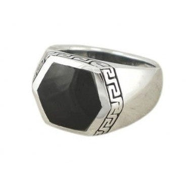 925 Sterling Silver Men's Hexagonal Black Onyx Greek Key Ring - SilverMania925
