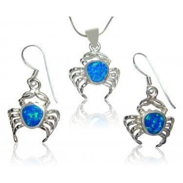 925 Sterling Silver Hawaiian Blue Fire Opal Crab Pendant Dangle Earrings Set - SilverMania925
