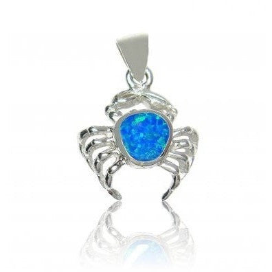 925 Sterling Silver Hawaiian Blue Fire Opal Crab Charm Pendant - SilverMania925
