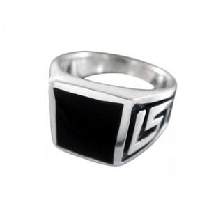 925 Sterling Silver Men's Onyx Engraved Greek Key Meander Meandros Ring - SilverMania925