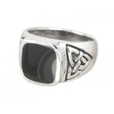 925 Sterling Silver Men's Rectangle Onyx Celtic Irish Triquetra Trinity Knot Ring - SilverMania925
