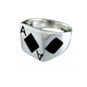 925 Sterling Silver Ace of Diamonds Casino Ring - SilverMania925