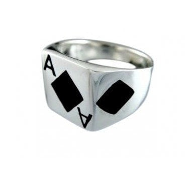 925 Sterling Silver Men's Ace of Diamonds Card Game Ring - SilverMania925