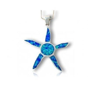 925 Sterling Silver Pendant Hawaiian Blue Inlay Opal Starfish Sun - SilverMania925