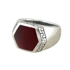 925 Sterling Silver Men's Hexagonal Carnelian Greek Key Meander Ring - SilverMania925