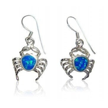 925 Sterling Silver Hawaiian Blue Fire Opal Crab Dangle Earrings Set - SilverMania925