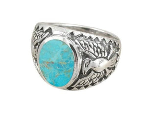 925 Sterling Silver Mens German Eagle Oval Genuine Inlay Turquoise Ring - SilverMania925