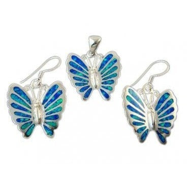 925 Sterling Silver Earrings Pendant Set Hawaiian Opal Butterfly - SilverMania925