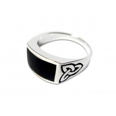 925 Sterling Silver Men's Celtic Knot Rectangular Black Genuine Onyx Ring - SilverMania925