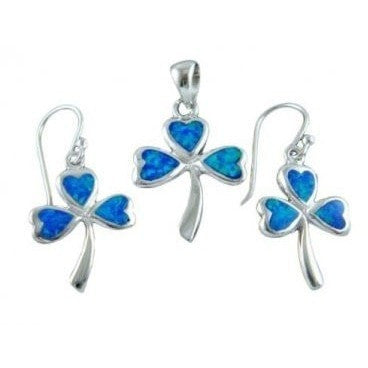 925 Sterling Silver Hawaiian Blue Opal Celtic Shamrock Pendant Earrings Set - SilverMania925
