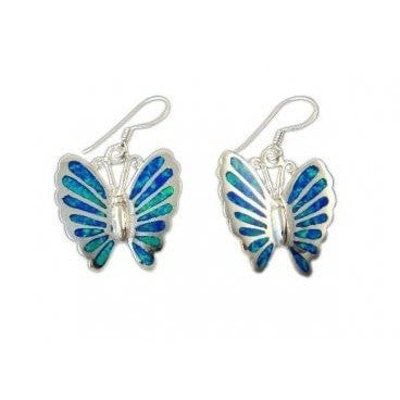 925 Sterling Silver Hawaiian Blue Inlay Fire Opal Butterfly Dangle Earrings Set 8gr - SilverMania925
