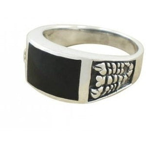 925 Sterling Silver Men's Scorpion Rectangular Black Genuine Onyx Ring - SilverMania925