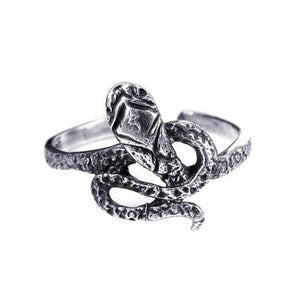925 Sterling Silver Snake Oxidized Adjustable Pinky Toe Ring - SilverMania925