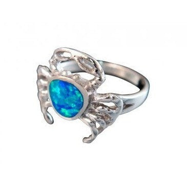 925 Sterling Silver Hawaiian Blue Fire Inlay Opal Sea Crab Ring - SilverMania925