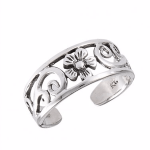 925 Sterling Silver Flower Swirl Filigree Oxidized Adjustable Pinky Toe Ring - SilverMania925