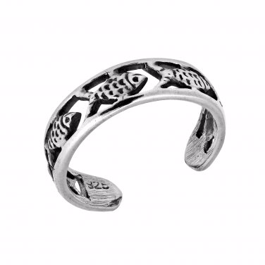 925 Sterling Silver Fish Oxidized Adjustable Pinky Toe Ring
