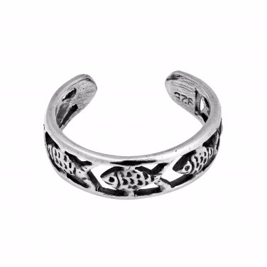 925 Sterling Silver Fish Oxidized Adjustable Pinky Toe Ring - SilverMania925